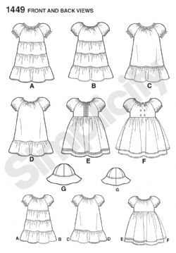 1449 Simplicity Pattern: Toddlers' Dress and Hat in Three Sizes